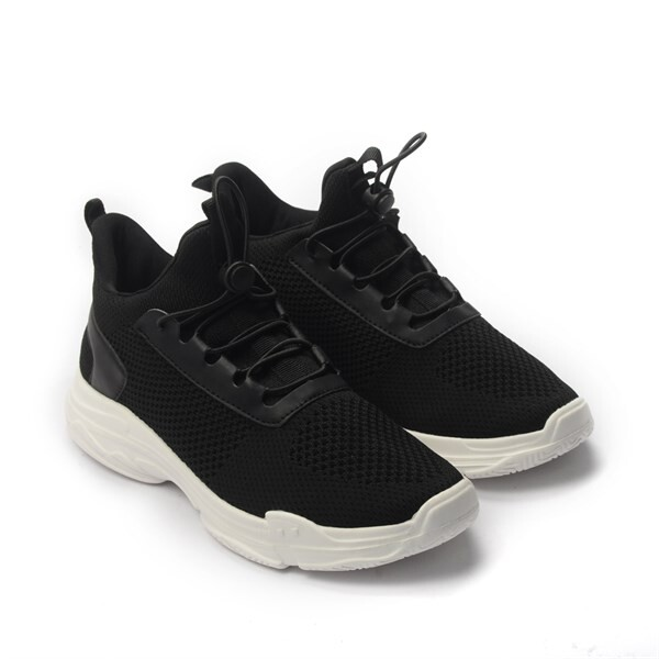 Giày Sneaker Unisex dây rút phối lưới màu đen,đế su GTT BQ02 - 39 2