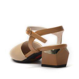 Giày Slingback hở hậu mũi tròn gót vuông màu kem, đế 5cm GB1101 7