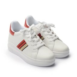 Giày Sneaker nữ đế cao phối viền sọc màu đỏ, đế 5cm GTT577-93 1
