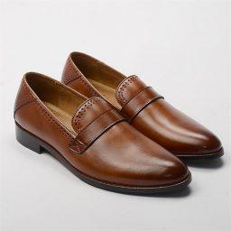 Giày Tây trang trí dây bách ngang đánh màu PATINA cao cấp màu bò, đế su 2cm GTP09 1