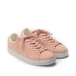 Giày Sneaker nữ cột dây Suede màu hồng, đế su GTT577-69 4