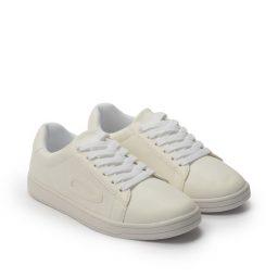 Giày Sneaker nữ cột dây vá bên màu trắng, đế su GTT577-57 9